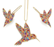 Gold Plated Sterling Silver Hummingbird Necklace Pendant and Earrings Polymer Clay Bird Jewellery Set, 42cm Gold Filled Chain
