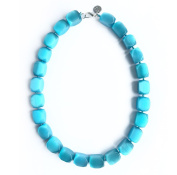 Necklace Goluba Quartz Necklace In Light Blue, High-Quality, . and Elegant. Beautiful Necklace made of Natural Stones/Gemstones. Handcrafted Gemstone Jewellery