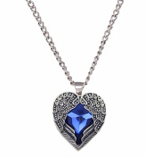 Gothic Pendant Necklace Angel Wing Design with Royal Blue Gemstone