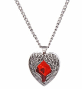 Gothic Pendant Necklace Angel Wing Design with Red Gemstone
