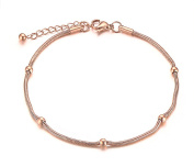 Vnox Stainless Steel IP Rose Gold Thin Bead Ball Anklets Foot Chain with Extension Chain for Tenn Girls