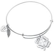 Sterling Silver 4 Leaf Clover Heart Friends Forever Today Tomorrow Always Adjustable Bangle Bracelet
