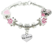 Big Sister Childrens Pandora Style Charm Bracelet in Pretty Pink Colour Theme