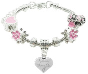 Special Daughter Childrens Pandora Style Charm Bracelet in Pretty Pink Colour Theme