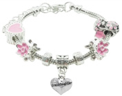 Granddaughter Childrens Pandora Style Charm Bracelet in Pretty Pink Colour Theme