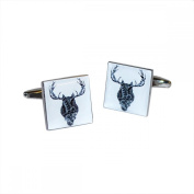 Mens Shirt Accessories - Contemporary Owl Merged into a Stags Head Cufflinks (With Black Presentation Box) - Novelty Animal Theme Jewellery