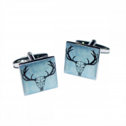 Mens Shirt Accessories - Horned Stag Skull Distressed Style Cufflinks (With Black Presentation Box) - Novelty Animal Theme Jewellery