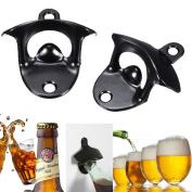 Wall Mounted Bottle Opener,Black,Stainless Steel Beer Bottle Cap Opener with Two Screws