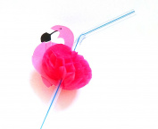 Kink - (Pink/Straw Straw Flamingo 24 x 0.5 cm, Pack of 50) with 3D Effect