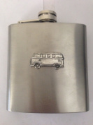 Campervan PP-T24 English Pewter Emblem on a 180ml Stainless Steel Hip Flask with Captive Top