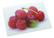 Glass Chopping Board 40 x 30 cm with Cherries