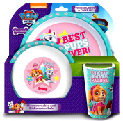 PAW Patrol 'Best Pup Pals' Girls 3-Piece Dinner Set | Tumbler, Bowl and Plate | Tableware