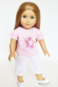 PINK STAR TOP AND CAPRIS OUTFIT FOR AMERICAN GIRL DOLLS