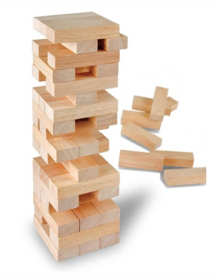 51 Piece Wooden Block Tower Game Stacking Tumbling Tower Game