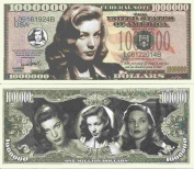 Novelty Dollar Lauren Bacall Betty Joan Perske Commemorative Million Dollar Bills x 4 Actress