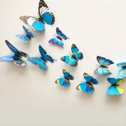 12 Pieces 3D Butterfly Stickers Fashion Design DIY Wall Decoration House Decoration Babyroom Decoration, Blue