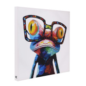 UNIQUEBELLA Ready to hang canvas pictures, Colours Frog wearing Glasses painting printed on Canvas mounted, Poster print painting mounted For Wall Art Home Decoration 50cm x 50cm