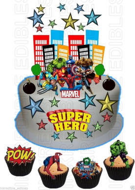 Edible SUPERHERO Hulk Spiderman Iron man WAFER Card SCENE Birthday Cake Cupcake Topper