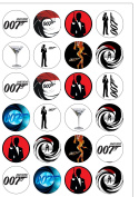 24 Precut 40mm Round Classic James Bond 007 Spy Themed Edible Wafer Paper Cake Toppers