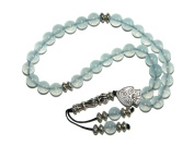 A1-0015 - Beautiful Prayer Beads Worry Beads Tasbih 8mm Aquamarine Gemstone Handmade by Jeannieparnell