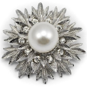 Elixir77UK Silver Colour Snowflake Flower Gift Pin Brooch With Plain Crystals and Large Faux Pearl