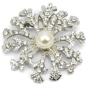 Elixir77UK Silver Colour Snowflake Flower Gift Pin Brooch With Plain Crystals and Faux Pearl