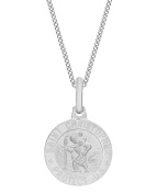 Tuscany Silver Sterling Silver Round 12 mm St Christopher Pendant on Curb Chain of 46 cm/18 inch