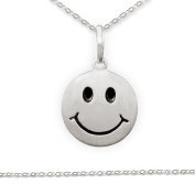 """CLEVER Jewellery SET Pendant """"Smiley eyes and mouth satin black finish and Anchor Chain 42 CM 925 Silver"""