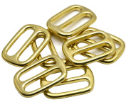 "Okones Pack of 6pcs,1""(25mm) Inner Width,Solid Brass Rectangle Buckle Loop Ring Belt and Strap Keeper for Backpack Bag Accessories"