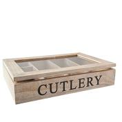 Gisela Graham Natural Wood Cutlery Box