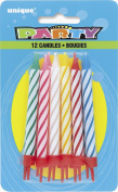 Striped Birthday Candles in Holders, Assorted Pack of 12