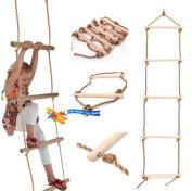 Wooden Rungs Kids Climbing Rope Ladder For Garden Outdoor Tree Swing Frames