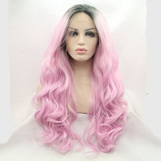 Kylie Jenner synthetic lace front wig for women pink body wave with dark root with heat resistant fibre darg queen African American black and white women