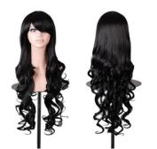 Mermaid Fashion Women Wig Heat Resistant Long Curly Hair Cosplay Anime Costume Dark Purple Full Wigs+Cap