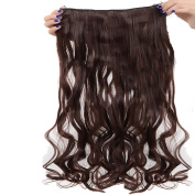 Real Fibre Hairpieces 60cm Wavy Curly Medium Brown Hairpiece 3/4 Full Head One Piece 5 Clips Clip In Hair Extension Extensions