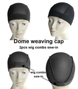 MsFenda 3pcs/lot with 2 Wig Combs Sew-in Black Colour Lace Wig Making Cap, Dome Weaving Net Cap