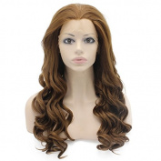 60cm Long Wavy Brown Lace Front Wig Half Hand Tied Heat Resistant Synthetic Hair Wig at Mxangel