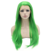 Long Straight Green Cosplay Party Wig Heat Friendly Fibre Lace Front Wig Natural at Mxangel