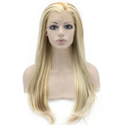60cm Long Straight Blonde Mix Celebrity Synthetic Lace Front Wig Half Hand Tied Light Blond Natural Wig at Mxangel