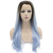 Medium Long Straight Ombre Blue Synthetic Lace Wig Half Hand Tied Fibre Hair Wig Natural at Mxangel