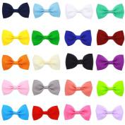 20 Colours 6.6cm Grosgrain Ribbon Boutique Hair Bows Hair Clips Barrettes for Baby Girls Kids Children