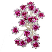 20pcs Crystal Rose Flower Wedding Bridal Hair Clips Pins Bridesmaid Jewellery Hair Accessories for Women Party Banquet, Hot Pink