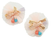 Frilled Ribbon Fashion Hair Clip (2PC Set) | Cute, All-Purpose Alligator Beauty Clips | Made in Korea and Hand-Assembled