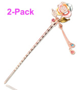 LiveZone 2-Count Fashion Beatiful Coloured Drawing Hair Decor/Hair ornaments-Chinese Traditional Style Women Girls Hair Stick Pins Forks Hairpin Hair Making with Wintersweet Leaf and Tassels ,Pink