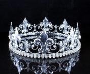 MEN'S KING METAL CROWN AUSTRIAN RHINESTONE theatre PROM PARTY C805S SILVER