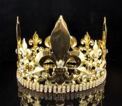 11cm MEN'S KING METAL CROWN AUSTRIAN RHINESTONE theatre PROM PARTY C804G GOLD