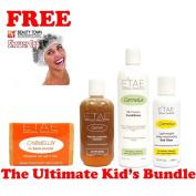 Etae Ultimate Kid's Bundle, Kids Shampoo, Carmel Treatment, Conditioner, Hair Gloss (4 items) w/ Free Shower Cap