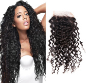 Sunwell Free Part Deep Curly Lace Closure Brazilian Virgin Human Hair 3.5x 4 Lace Top Closure Bleached Knots with Baby Hair Natural Colour 20cm