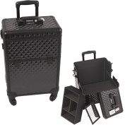 Diamond Pattern Professional Rolling Cosmetic Makeup Case with Removable Tray and Divider
