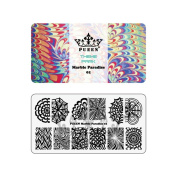 PUEEN Nail Art Stamping Plate - Marble Paradise 01 - Theme Park Collection 125x65mm Unique Nailart Polish Stamping Manicure Image Plates Accessories Kit - BH000715